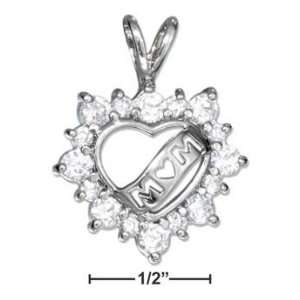 STERLING SILVER OPEN HEART WITH CUBIC ZIRCONIAS AND MOM