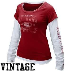 Nike Alabama Crimson Tide Ladies Crimson White Cross Campus Double