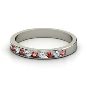 Slim Band, Sterling Silver Ring with Red Garnet & Diamond Jewelry