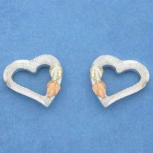 12k Landstroms Black Hills Gold Silver Heart Earrings Jewelry