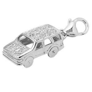 14K White Gold 1/10ct HIJ Diamond Car Spring Ring Charm