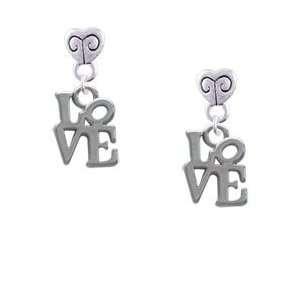 Mini Silver Love in Square   Im. Rhodium Plated Mini Heart
