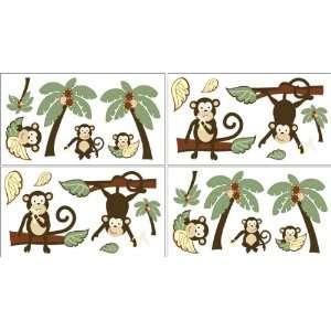 Monkey Baby and Kids Wall Decal Stickers   Set of 4 Sheets