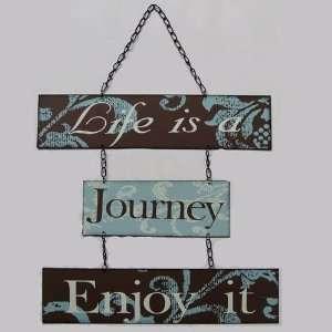 Life Is Journey Blue Hanging Metal Metallic Sign Home