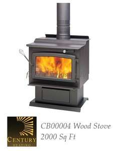 CENTURY HEATING CB00004 FW3000 WOOD BURNING STOVE 75000BTU 2000 SQ FT