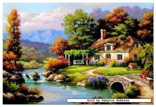 of EDUCA 8000 pieces jigsaw puzzle: Sung Kim   Cottage Stream (14454