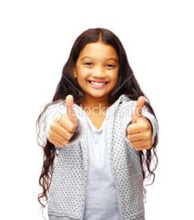 Cute little girl showing thumbs up over white Royalty Free Stock Photo