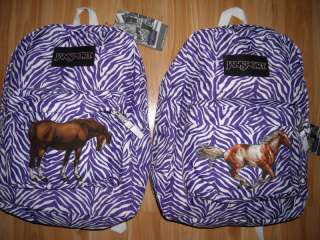 Girl HORSE Backpack~Purple & White~Zebra Print~JanSport