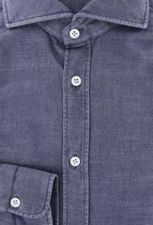Imperfect $375 Borrelli Denim Blue Shirt 15.5/39