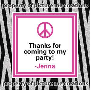 Zebra Print Peace Sign Party Favor Hang Tag 12, 2.5