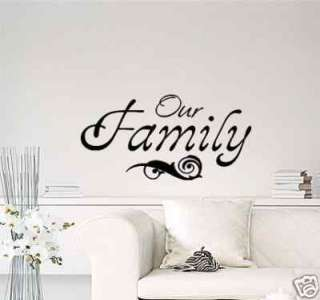 Wall Lettering Our Family Vinyl Decal Graphic NEW