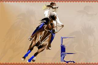 BARREL RACE COWGIRL HORSE RODEO CROSS STITCH PATTERN