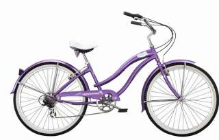 New 24 7 SPEED beach cruiser bicycle bike Purple