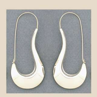 Sterling Silver Wide Base Large Hoop Earrings