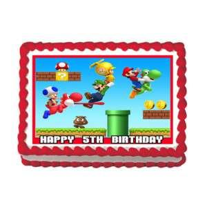 SUPER MARIO LUIGI Edible Cake Image Party Decoration