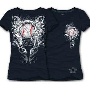 Katydid NAVY Peace Love Baseball Rhinestone Shirt   M