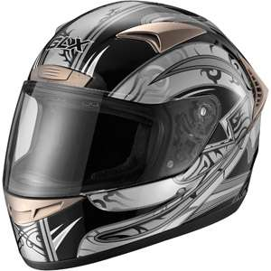 GLX DOT Tribal Full Face Motorcycle Helmet, Silver, L