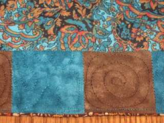 Quilted Table Dresser Runner Teal brown Floral Flowers Hand pieced