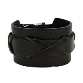 Mens Black 3 X Leather Bracelet, 8.5 Bracelets