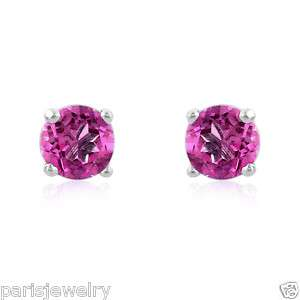 Carat Genuine Pink sapphire Stud Earrings in Silver