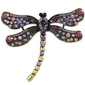 Large 4 Goldtone Rhinestone Dragonfly Brooch Pin or Pendant Jewelry