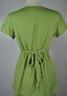 2Pc NEW Trendy Green Maternity Shirt Top & Duo Black Capris Lot   L