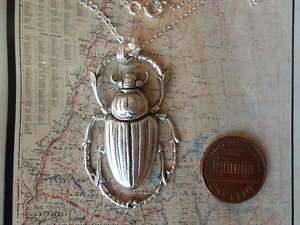 Egyptian SCARAB BEETLE Necklace Silver