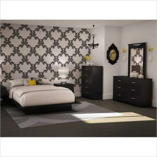 South Shore Maddox Full/Queen Black Wood Platform Bed 5 Piece Bedroom