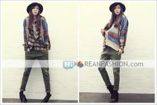 hi korean fashion*Ethnic Womens VTG Wool Stripes Cardigan Sweater Knit