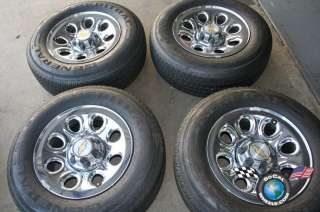 05 10 Chevy Tahoe Factory 17 Chrome Steel Wheels Tires OEM Rims 1500