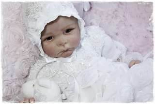 Reborn Baby White French Roses Beaded Lace Gown Dress Bonnet