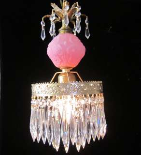 Hanging pendant Glass Lamp Chandelier Fenton satin Pink
