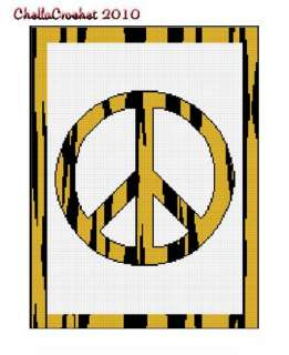Animal Print Peace Sign Crochet Pattern Graph Choose