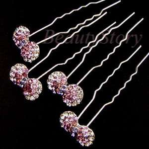 SHIPPING Austrian rhinestone crystal bow tie knot hair pin fork