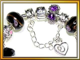 Purple Black Pink Hello Kitty Dragonfly Silver Plated Charm Bracelet