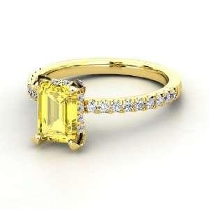 Reese Ring, Emerald Cut Yellow Sapphire 14K Yellow Gold Ring