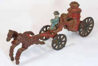 Antique Vintage Cast Iron Horse Drawn Fire Truck Pumper