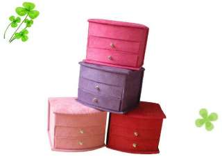 small fashion portable 3 tier Jewelry Box Case 4 Colors