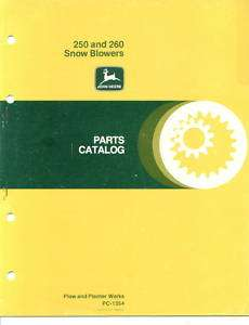 John Deere 250 260 Snow Blower Parts Catalog
