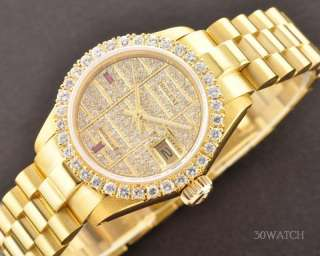 LADIES ROLEX OYSTER PERPETUAL DATEJUST 18K GOLD PAVE DIAMOND AND RUBY