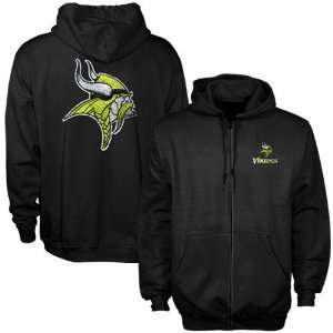 Minnesota Vikings Black Touchback Full Zip Hoody Sweatshirt