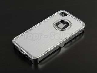 Silver Luxury Bling Diamond Aluminium Case Cover iPhone 4 4S 4G