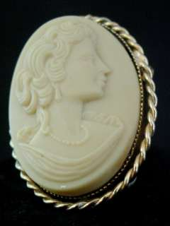 Revival Cameo Style Ceramic Brooch Pin Face Carved Gold Tone Metal