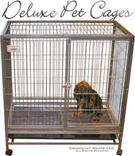 40 DOG KENNEL w WHEELS PORTABLE PET CARRIER CRATE CAGE