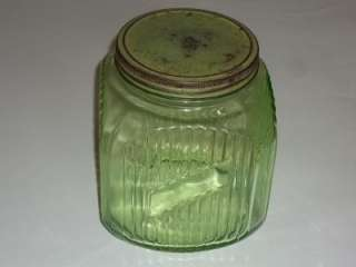 Depression Glass Cookie Jar Hoosier Pantry Ribbed Jar Canister