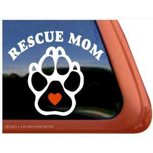 Rescue Mom Dog Paw Heart Vinyl Window Decal Sticker