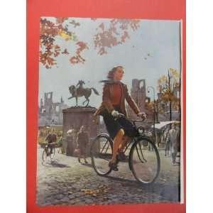 Art. Girl on bicycle. Orinigal 1951 Vintage Colliers Magazine Art
