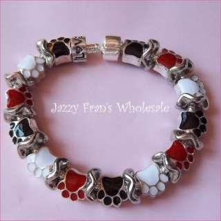 Paw Print Dog Cat European Style Bead Bracelet(FM31)