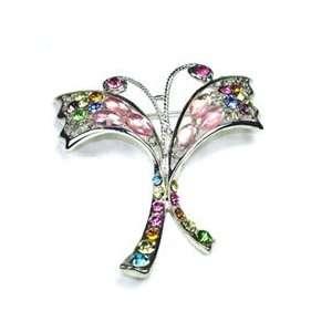 Color Austrian Rhinestone Butterly Silver Tone Brooch Pin Jewelry