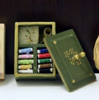 Dollhouse Miniature wooden sewing tool kits green box